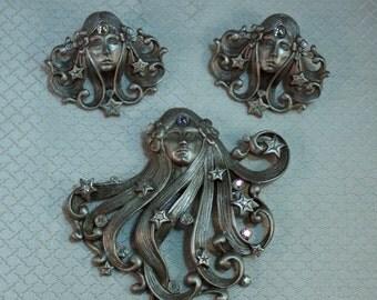 Jonette Jewelry Pewter Fairy Maiden Brooch and Earrings Set