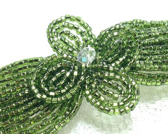 Moss Green Crystal Fascinator - French Beaded Barrette Clasp Clip Hair Comb - Sparkle Collection CLSL