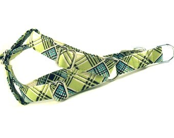 Lime Turquoise Plaid Dog Step in Harness