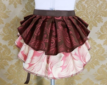 """10% OFF ON SALE!  New Longer Pattern 2 Tier Bustle Belt Overskirt - Sz. Xs/S - Brown, Rose, & Ivory - Fits up to 45"""" Waist"""