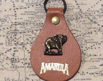 Amarula Liqueur brass elephant on leather  key ring