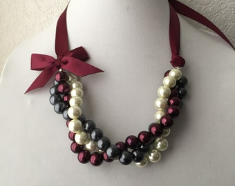 Twisted Ivory, Gray and Burgundy Pearl Necklace with Burgundy Ribbon Bow, Holiday Statement Necklace