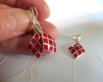 Earrings and pendant Jewelry set of silver with red enamel diamonds in 50er Years style-unique red earrings and pendant-madebymirjam