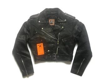 Vintage 90s Black Leather Punk Motorcycle Jacket