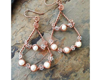 Walking Like An Egyptian Earrings made with Copper, Fresh Water Pearls and clear crystals