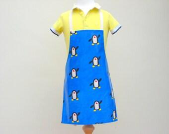 Toddler Oilcloth Apron - Dancing Penguins, Childrens Apron, PVC Apron, Waterproof Apron
