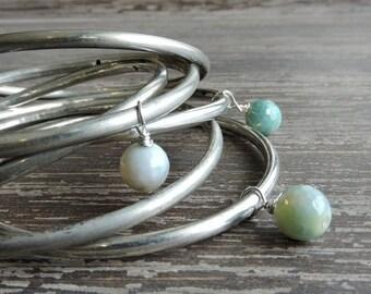 CYBER MONDAY SALE Stacked Bracelets: Gypsy Jewelry, Silver and Turquoise Agate Bracelets, Bohemian Indian Jewelry, Silver Bangles, Boho Brac