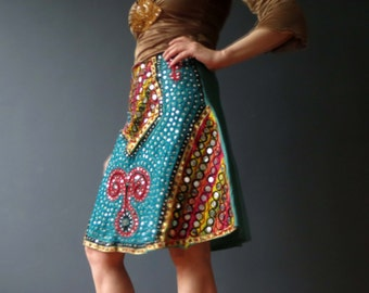 Vintage 70s Indian Boho Jewelled Cotton Festival Skirt Small
