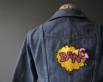70s Denim Jean Jacket Colonials Novelty Bang Op Art Patch Small