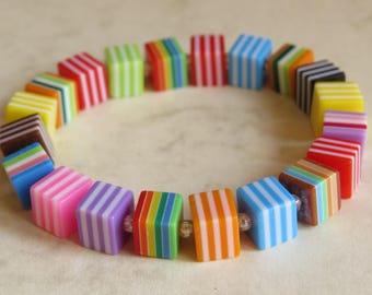 cool funky multi coloured bead stretch bracelet