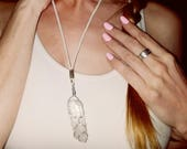 SALE: Elfin Quartz Crystal Wire Wrapped Necklace