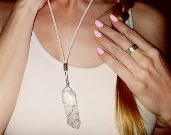 Sale: Elfin Large Quartz Crystal Wire Wrapped On White Leather Cord Necklace With Silver Accent Charms