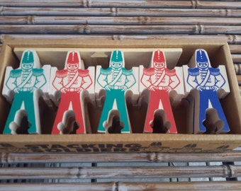 Stacking Wood Soldiers Made In USA In Original Box Bill Ding Style RePurpose Jewelry Supply