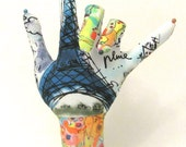 RESERVED for janletch ~ WIRED Eiffel Tower Chagall Dove Fabric Hand Jewelry Display Popular Style HAND-Stand