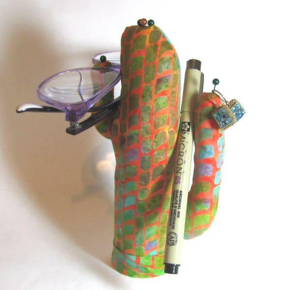 Tall Batik Fabric Saguaro CACTUS-Stand ~ Eyeglass Watch Jewelry Display ~ Ready to Ship