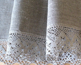 "Square Tablecloth Natural Gray Lace Tablecloth Linen Tablecloth Burlap Tablecloth Washed Linen Lace 60"" x 60"""
