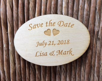 Wooden Save the Date magnet D, personalized