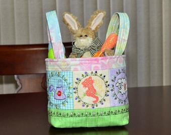 Spring/Easter Fabric Basket - Embroidered Fabric Easter or Spring Basket