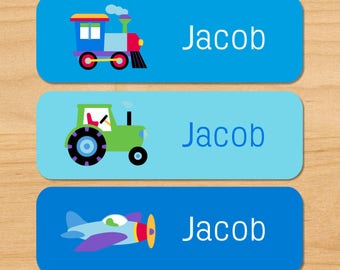 Kids Trains Planes & Trucks Waterproof Name Labels, Personalized Transportation Daycare Labels, Vehicle Baby Bottle Labels, Dishwasher Safe