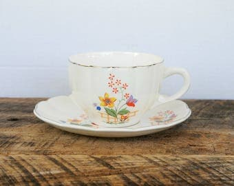 Large Vintage Coffee Cup and Saucer W.S. George Gaylea Pattern