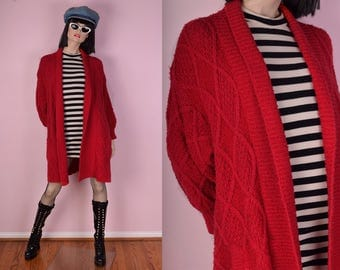 80s Red Oversized Cardigan Sweater/ One Size/ 1980s