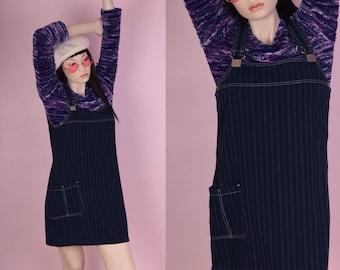 90s Striped Denim Jumper Dress/ Small/ 1990s