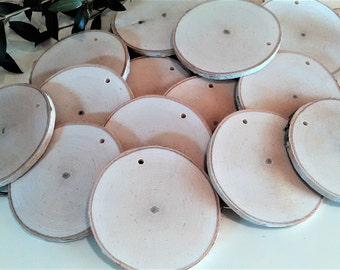"""100 3"""" Natural White birch discs with holes, Birch tree slices, Name tags,  diy projects, Gift tags, Rustic weddings - ornaments"""