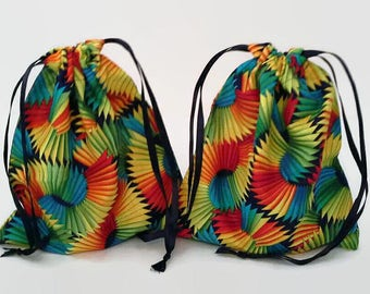 Two Rainbow Fans Birthday Drawstring Fabric Gift Bag Upcycled, Reusable, Sustainable