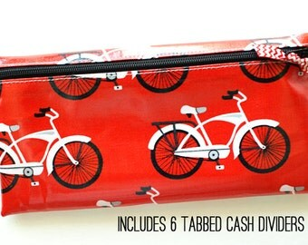 Cash envelope system budget wallet with 6 tabbed dividers | red laminated cotton with white and black bicycle print