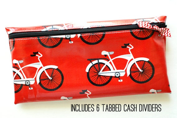 Cash envelope system budget wallet with 6 tabbed dividers   red laminated cotton with white and black bicycle print
