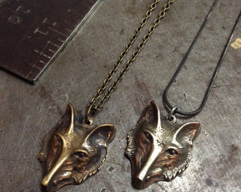 Hand cast Brass or White Bronze stylized wise Wolf Fox face on antiqued brass or antiqued sterling chain Heyltje Rose