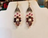Beautiful Swarovski Purple Crystal and Pearl Earring Boho, Southwestern, Native, Victorian, Gypsy, Great Gift Ready to Ship