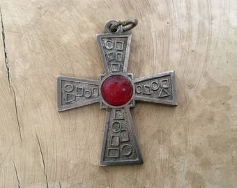 Vintage metal cross pendant, made in Italy