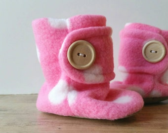 Pink Polka Dot Baby Booties