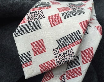 Christian Dior silk necktie red and black abstract design on figured ivory paisley 100% silk vintage suit tie mens wear