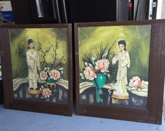 HUGE Art Deco watercolor paintings Chinoiserie signed DuComte with ornate basketweave frames Eastern Art Products