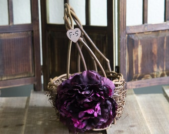 Plum Peony Rustic twig flower girl basket personalized with bride and groom initials other flowers to select from