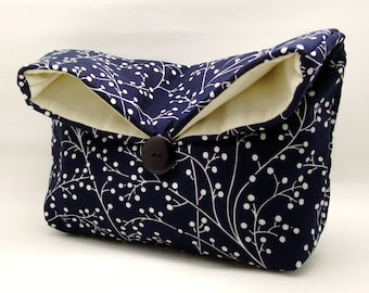 Foldover clutch, Fold over bag, clutch purse, evening clutch, wedding purse, bridesmaid gifts - White plants on blue (Ref. FC4)
