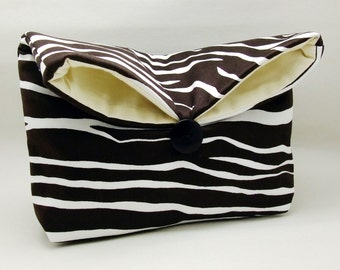 Foldover clutch, Fold over bag, clutch purse, evening clutch, wedding purse, bridesmaid gifts - Tiger strips (Ref. FC46 )