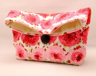 Foldover clutch, Fold over bag, clutch purse, evening clutch, wedding purse, bridesmaid gifts - Red pink flowers (Ref. FC52 )
