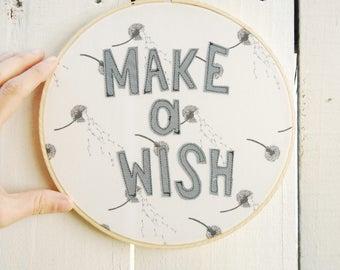 MAKE A WISH Wall Hanging, Dandelion Embroidery Hoop, Quilted Fiber Art Hoop, Mini Art Project, Hoop Art, Stitch Art, OOAK Wall Hanging