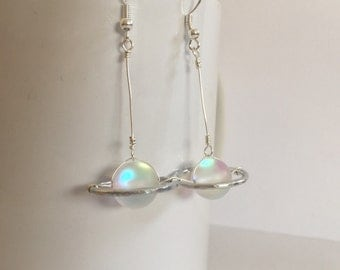 Saturn earrings/ moonstone earrings/ white synthetic moonstone saturn earrings/ pearlescent earrings/ iridescent moonstone/ planet earrings