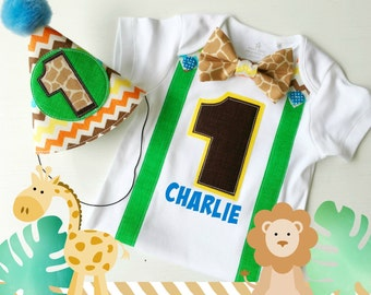 Jungle or Safari Theme First Birthday Boy Party Hat and Bodysuit Party Outfit