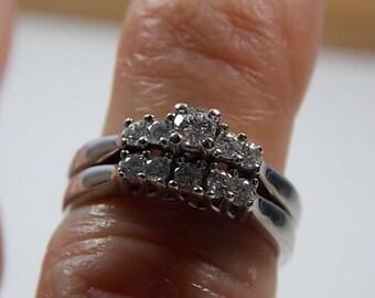 Diamond Bridal Set .70Ctw White Gold 14K 5.7gm size 5.5 Wedding and Engagement Rings 1960's