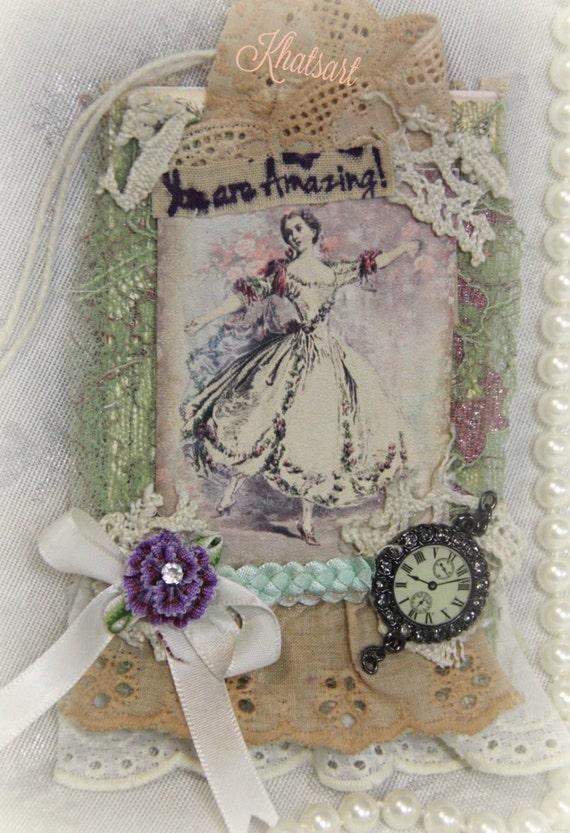 Vintage Antique Gift Tag  *VICTORIAN BALL* Tags, Vintage Tags, Handmade Ornament,Mixed Media By: KHATSART Elite4u