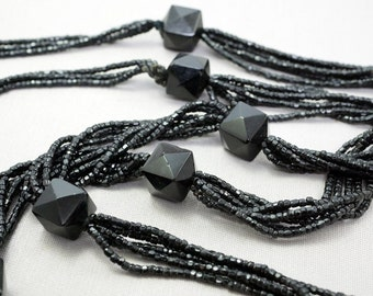 Victorian Beaded Necklace Long Beaded Necklace Victorian Mourning Jewelry