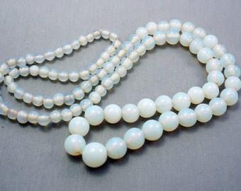 Vintage Opal Glass Necklace Czech Glass Beaded Necklace Graduated Necklace