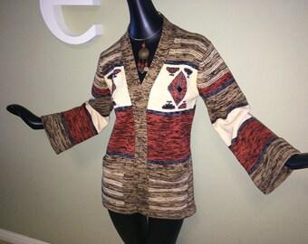 Groovy Vintage 70s Sweater 1970s Hippie Boho Space Dye Southwest Southwestern Navajo Aztec Indian Bell Sleeve Cardigan Wrap Sweater Jacket