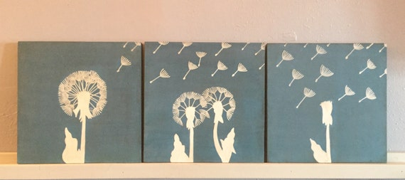 Trio Of Dandelion Paintings, Dandelion Wall Art, Dandelion Part 70