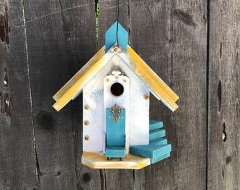 Unique Outdoor Birdhouse Functional Wooden Garden Birds Bird House, Whimsical Handmade Hand Painted Primitive Birdhouses, Item #527908815